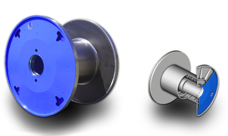 Pressed steel reels for bunching and wire drawing