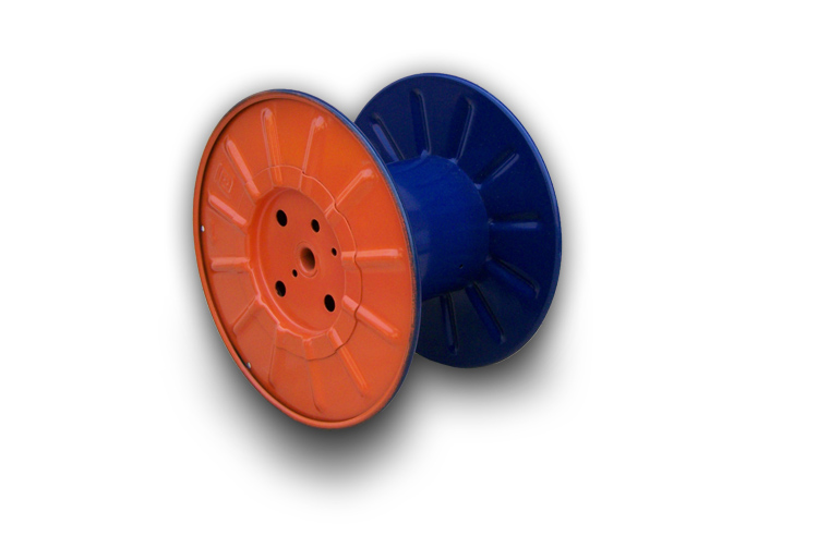 Steel cord spools and reels of bs type for